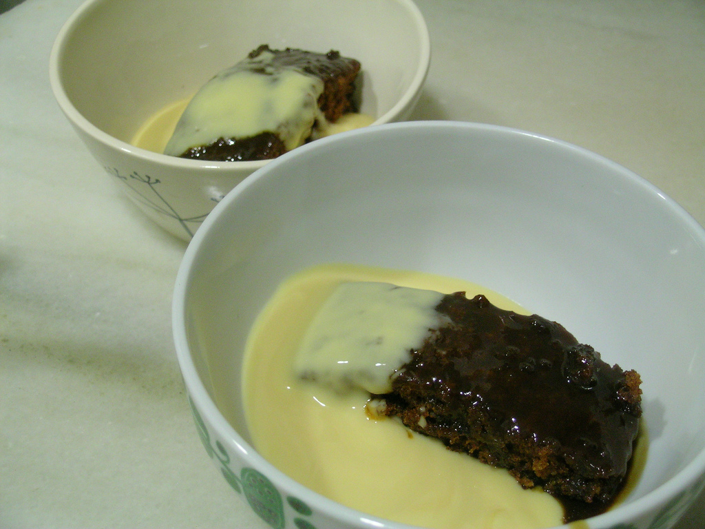 Iban Sticky toffee pudding with custard